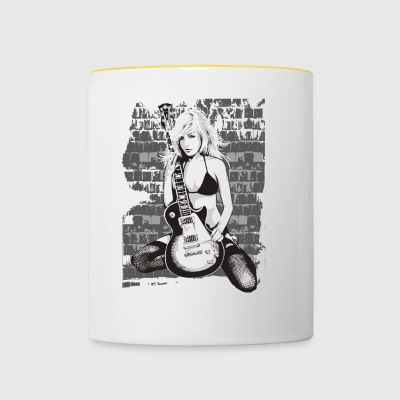 Guitar Girl Guitar Shirt awesome gift - Contrasting Mug