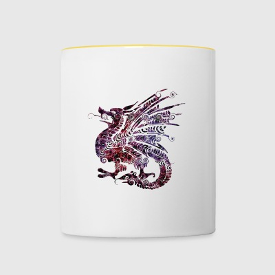 dragon fantasy ethnique - Tasse bicolore