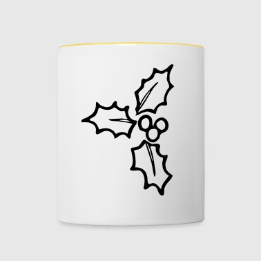 Holly monochrome Christmas ornament - Contrasting Mug