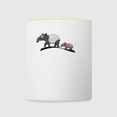 Tapir family mother and baby baby sweet present - Contrasting Mug