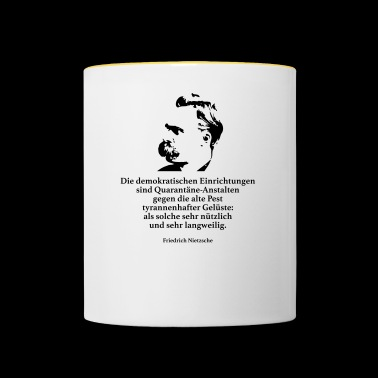 Nietzsche: The democratic institutions are - Contrasting Mug