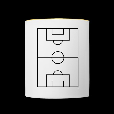Football pitch player kicking funny style tour - Contrasting Mug