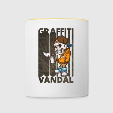 Cool Funny Graffiti Vandal.Graffiti Art. Skeleton - Contrasting Mug