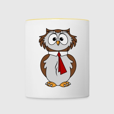 Funny owl in comic style necktie Chic - Contrasting Mug