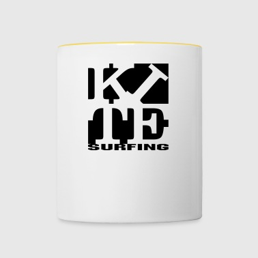 kite homage to robert Indiana surfing black out - Contrasting Mug