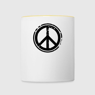 Peace Sign Peace Demo Grunge Flower Power - Contrasting Mug