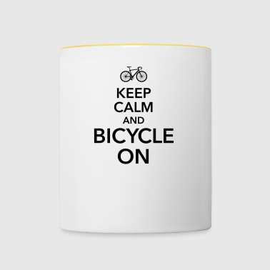 keep calm and bicycle on Fahrrad Drahtesel Sattel - Tasse zweifarbig