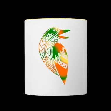 tribal raven tattoo (color) - Contrasting Mug
