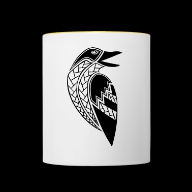 tribal raven tattoo (black) - Contrasting Mug