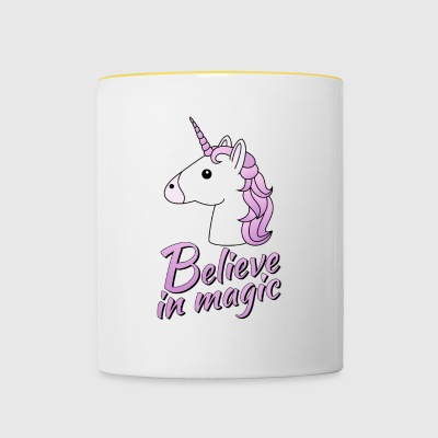 Unicorn head with text Believe in magic in lilac - Contrasting Mug