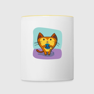 Cat with wool - Contrasting Mug
