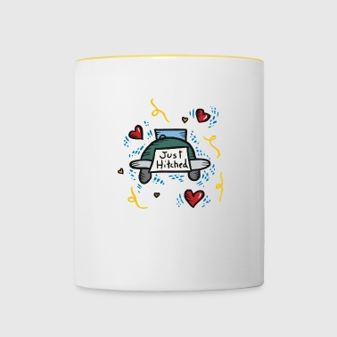 Just Married Just Hitched - Tasse zweifarbig
