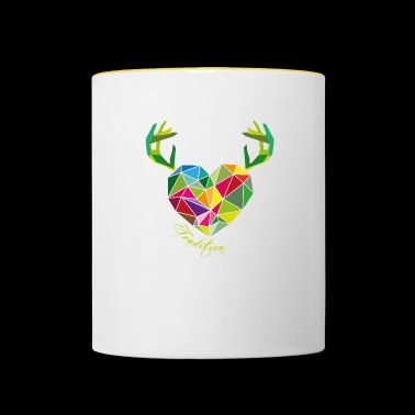 Poly heart with antlers | tradition - Contrasting Mug