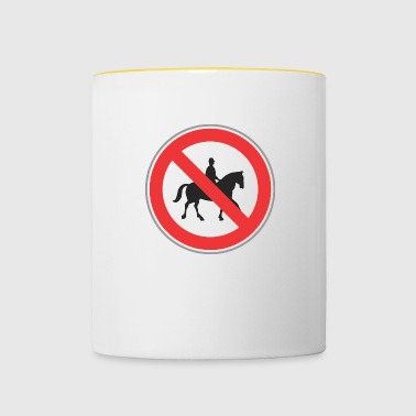 Road sign no horseman - Contrasting Mug