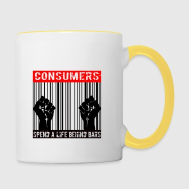 Consumers spend a life behind bars - Contrasting Mug