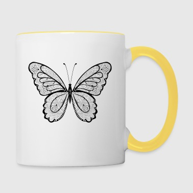 Butterfly in black hand drawn, - Contrasting Mug