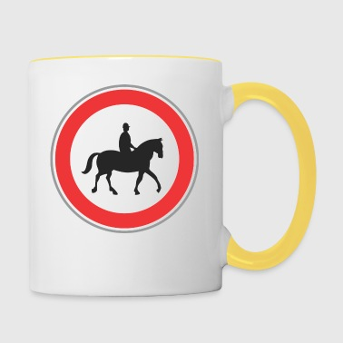 Road sign horseman - Contrasting Mug