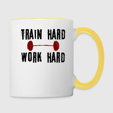 TRAIN HARD WERKEN HARD - Mok tweekleurig