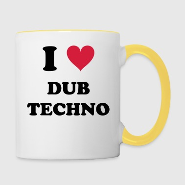 I Love Techno DUB - Mok tweekleurig