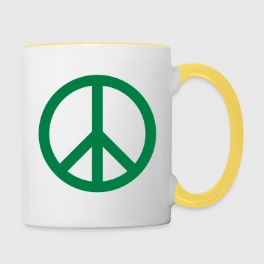 Peace Sign Filled Green - Contrasting Mug