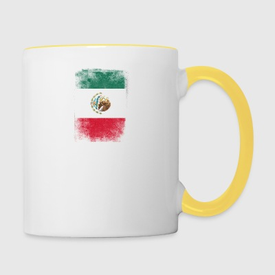 Mexique Drapeau fier du Mexique Vintage Distressed - Tasse bicolore