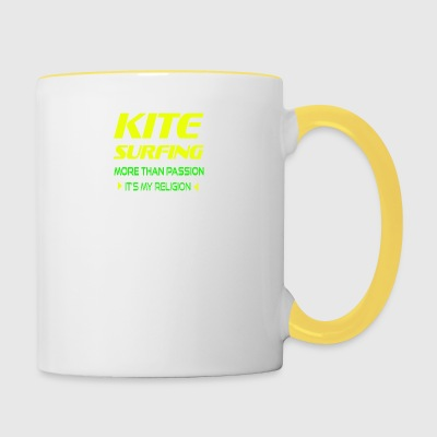KITEBOARD PLUS DE PASSION - ITS MY RELIGION - Tasse bicolore