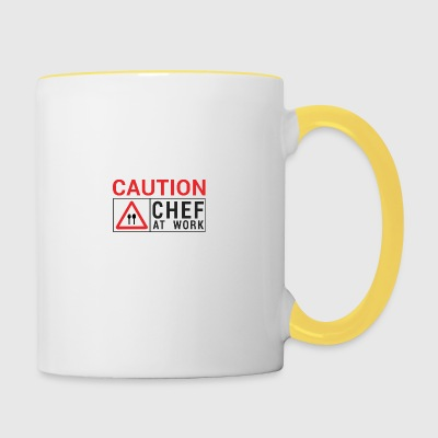 Chef / Chef Cook: Caution - Chef at work. - Contrasting Mug