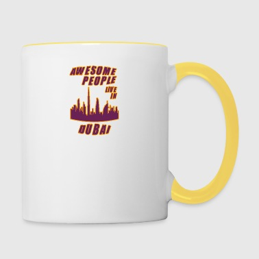 Dubaï Awesome people vit dans - Tasse bicolore