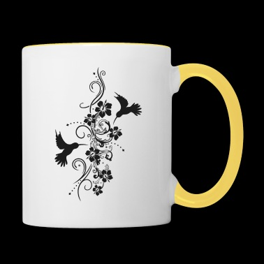 Hummingbirds with hibiscus and filigree tendril - Contrasting Mug