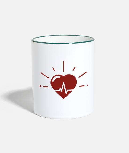 Bachelorette Mugs & Drinkware - Heartbeat for heartbeat - Two-Tone Mug white/dark green