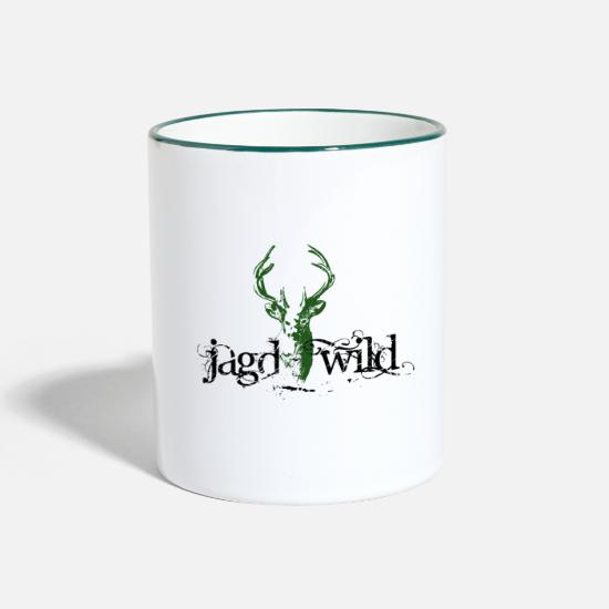 Forest Animal Mugs & Drinkware - Hunting game green partner look - Two-Tone Mug white/dark green