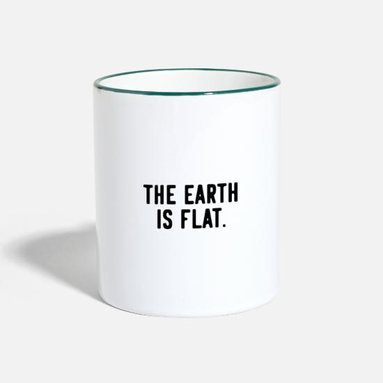 Gift Idea Mugs & Drinkware - Provocation Provocative Provoke Flat Earth - Two-Tone Mug white/dark green