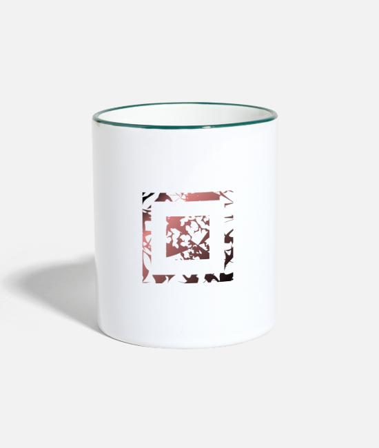 Hipster Mugs & Drinkware - Square rectangle abstract art pattern sign - Two-Tone Mug white/dark green