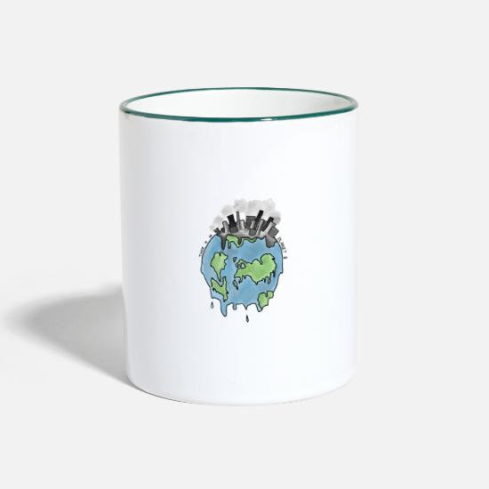 Planet Mugs & Drinkware - There is no planet B - Two-Tone Mug white/dark green