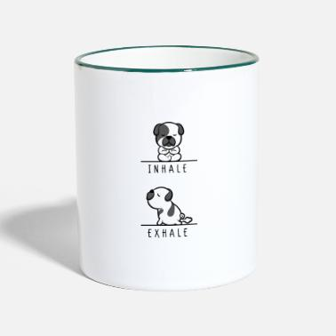 french bulldog frenchie yoga relax healthy fitness - Tasse zweifarbig