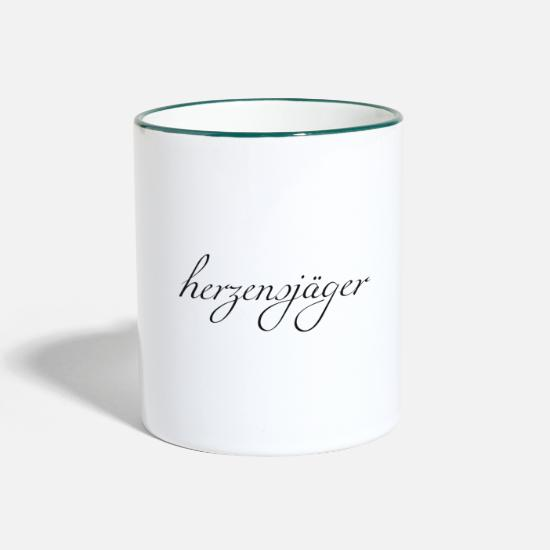 Love Mugs & Drinkware - Flirt Herzensjaeger font black - Two-Tone Mug white/dark green