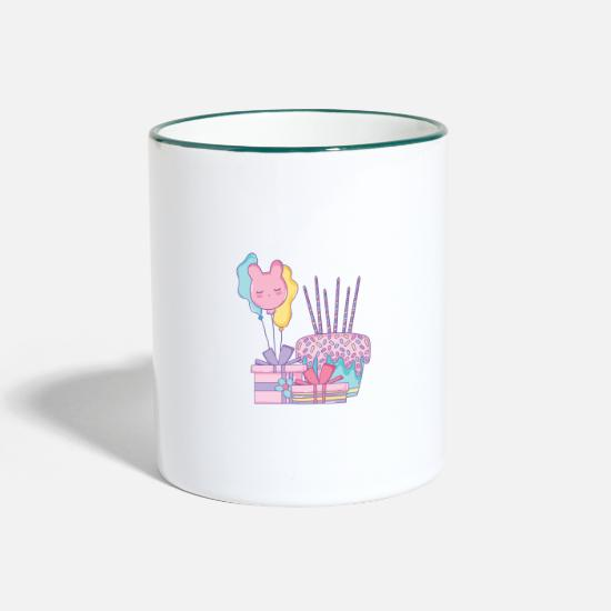 Birthday Cake Mugs & Drinkware - Birthday cake deluxe design - Two-Tone Mug white/dark green