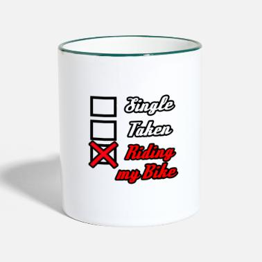 Single t-shirt single pris mon vélo single - Mug bicolore