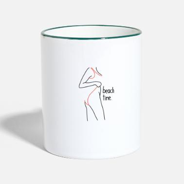 Beach Time Girl with Hips Design Retro Drawing - Two-Tone Mug