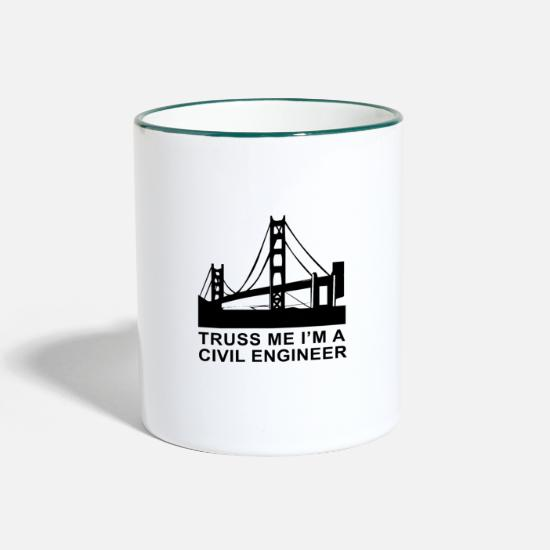 Civil Engineering Mugs & Drinkware - T-Shirt Funny saying Civil Engineer Gift Idea - Two-Tone Mug white/dark green