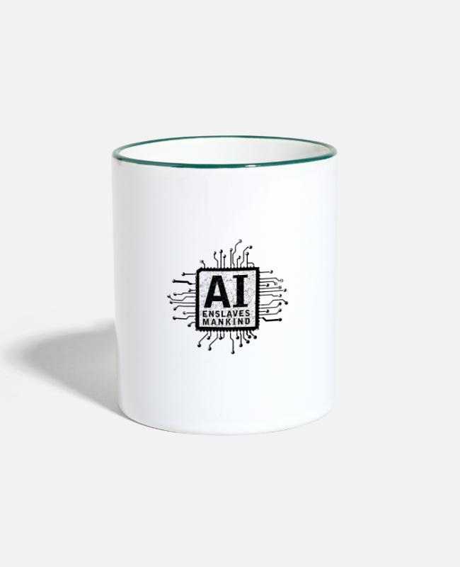 Matrix Mugs & Drinkware - ai enslaves mankind_01 - Two-Tone Mug white/dark green