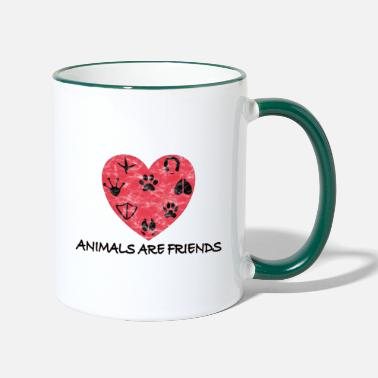 Animals are friends Tierschutz Aktivismus - Tasse zweifarbig