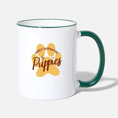 Male Puppy Dog Puppy Easily distracted by puppy puppies dog gift - Two-Tone Mug
