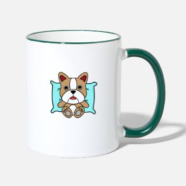 Dog Dog on pillow - Two-Tone Mug