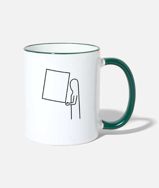 Artist Mugs & Drinkware - The picture is hanging crooked - Two-Tone Mug white/dark green