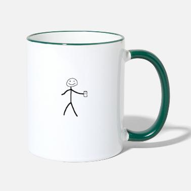 Stick Man Stick man with beer - Contrasting Mug