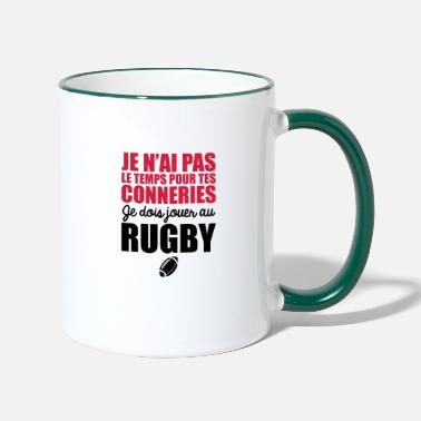 Rugby je dois jouer au rugby - Mug bicolore