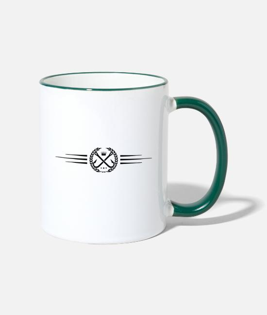 Line Mugs & Drinkware - fish hook logo wreath line - Two-Tone Mug white/dark green