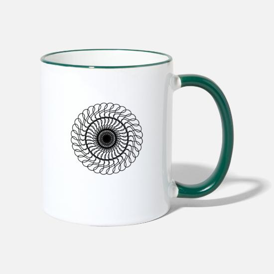 Gift Idea Mugs & Drinkware - Waves mandala - Two-Tone Mug white/dark green