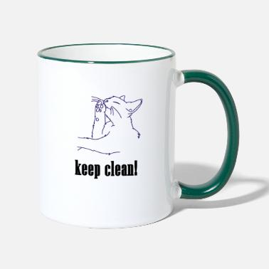 Clean What It Is keep clean, cat, clean, pet, meow, clean - Contrasting Mug